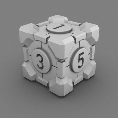 Portal Companion Cube DICE (Solid Numbers)