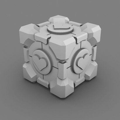 Portal Companion Cube (Solid Extruded Hearts)