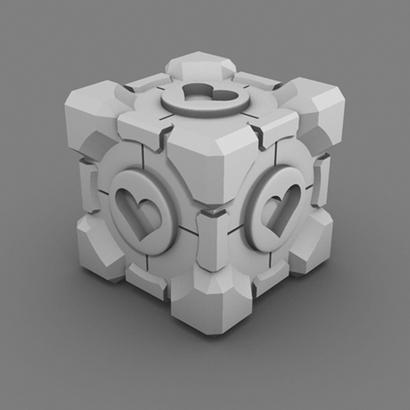 Portal Companion Cube (Solid Hearts)