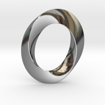 pendentif anneau moebius ovale