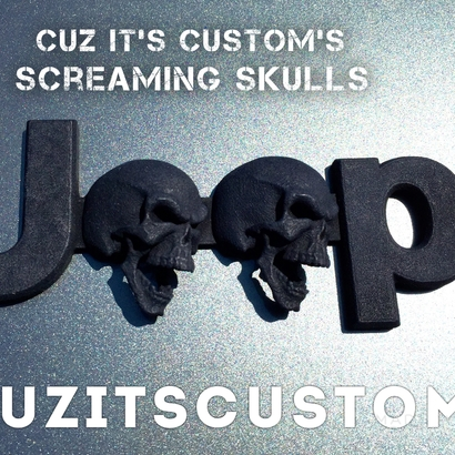 Cuz it's Custom Screaming Skulls Emblem for Jeeps (JK-OEM)