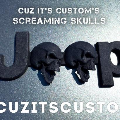 Cuz it's Custom Screaming Skulls Emblem for Jeeps (JK-OEM)