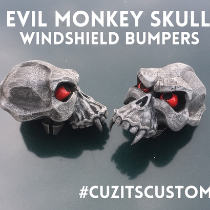 Evil Monkey Skull-Windshield Bumper