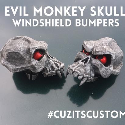 Evil Monkey Skull-Windshield Bumper