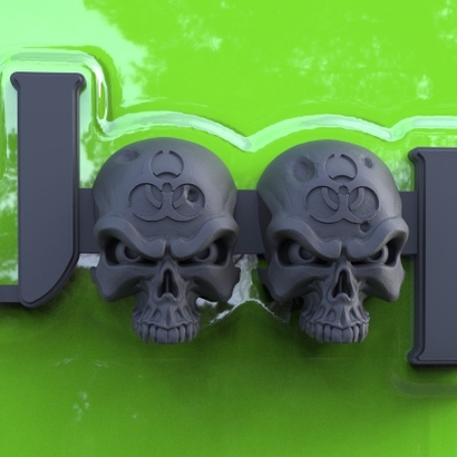 Cuz it's Custom Zombie Skulls Emblem for Jeeps (JK Willys)
