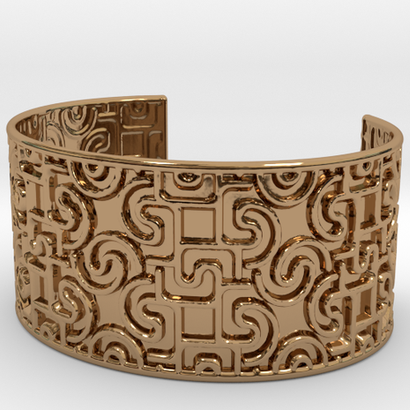 Engraved With Geometric Pattern Open Cuff Bracelet