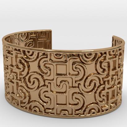 Engraved With Geometric Pattern Open Cuff Bracelet