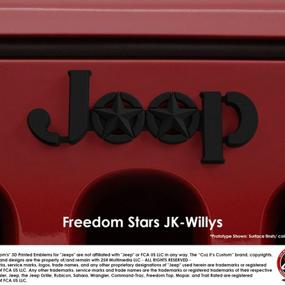 Cuz it's Custom Freedom Stars Emblem for Jeeps (JK Willys)
