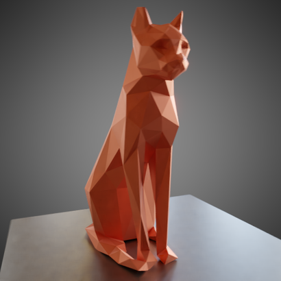 Sitting cat low poly