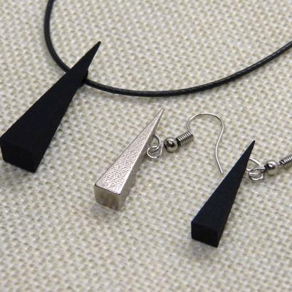 Pyramidal pendant & earrings