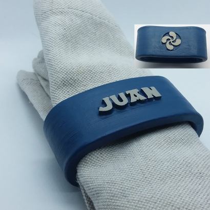 JUAN 3D Napkin Ring with lauburu